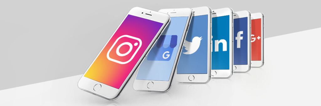 3 smartphones, each displaying Instagram, Google My Business and Twitter icons.